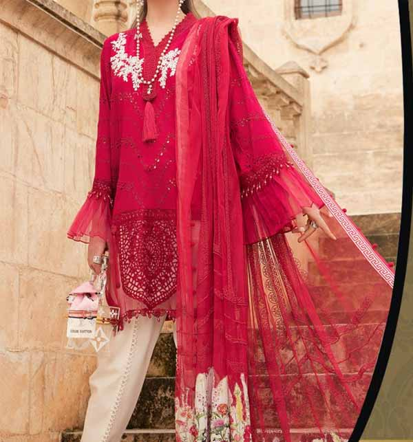 EID Collection Lawn Front Full Embroidery Dress Chiffon Duppata (DRL-856)