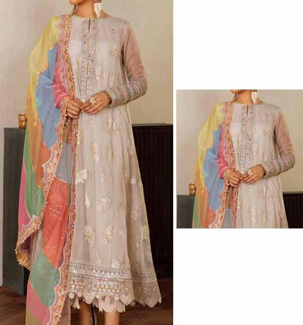Luxury Chiffon Suit With Digital Multi Embroidered Organza Dupatta (CHI-462)