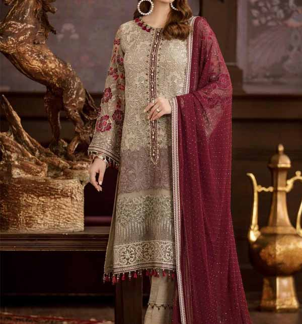 Luxury Embroidered Chiffon Wedding Dress with Four Side Embroidered Dupatta (CHI-475)