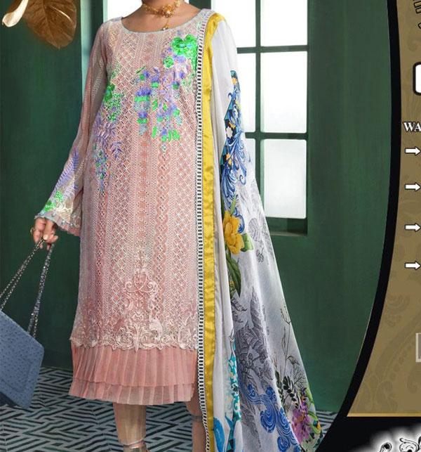 Luxury Embroidered Chikankari Lawn Suit 2020 with Silk Dupatta  (Unstitched ) (DRL-523)