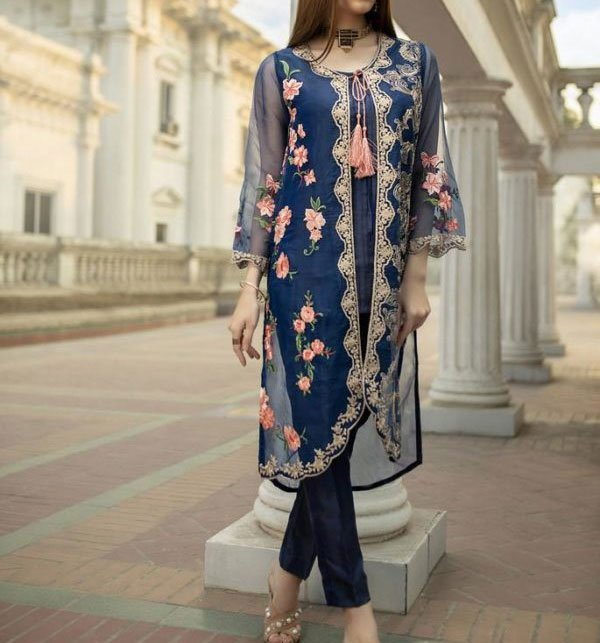 75f432fdd0 Full Embroidery Net Kurti With Inner (EK-120) (Unstitched)