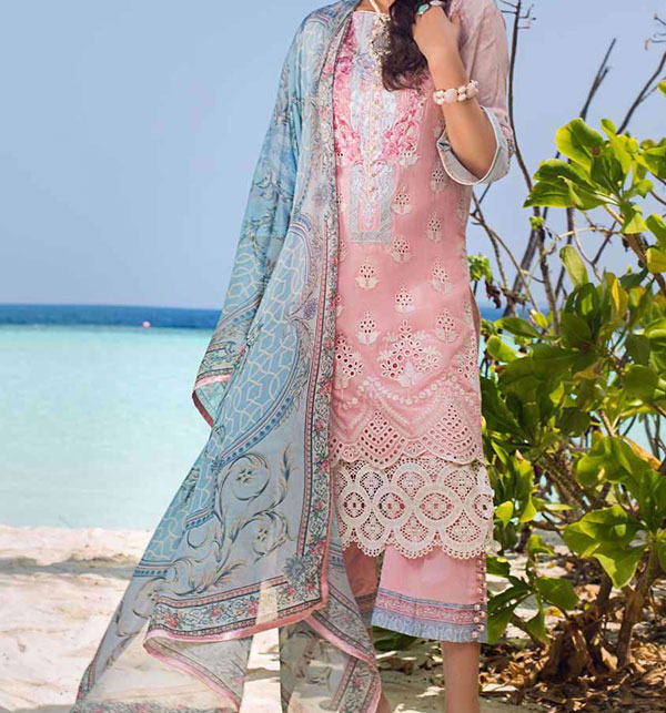 Luxury Heavy Embroidered Lawn 2020 With Chiffon Duppata UnStitched (DRL-655)