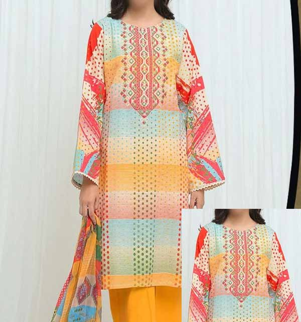 Luxury Hit Lawn Collection With Printed Chiffon Dupatta (DRL-896)