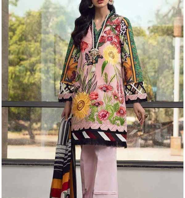 Luxury Embroidered Lawn Collection'21 With Chiffon Dupatta Unsicthed (DRL-798)