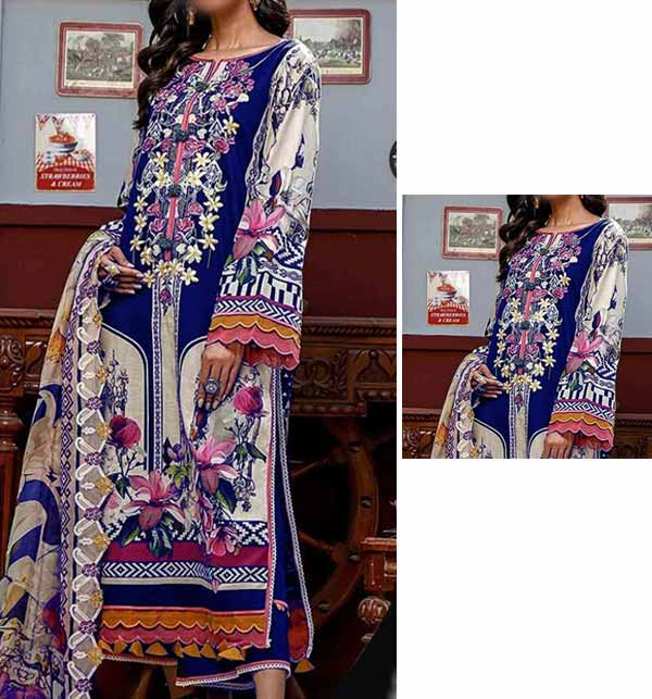Luxury Lawn Collection With Printed Chiffon Dupatta (DRL-897)