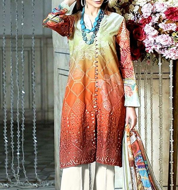 Luxury Schiffli Embroidered Lawn Dress 2020 with Chiffon Dupatta UnStitched (DRL-580)