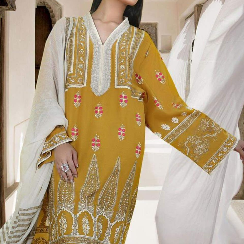 Marina 20*20 Embroidery Suit 2019 2020 With Wool Shawl (KD-90) (UnStitched)