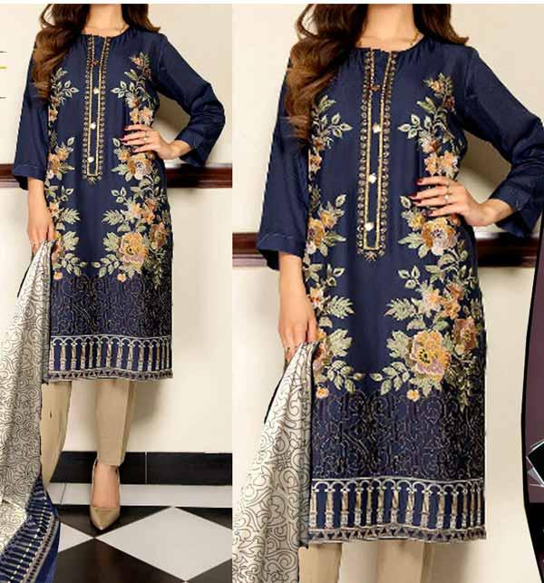 Marina Front Panel Heavy Embroidery Dress With Marina Shawl Dupatta (KD-140)