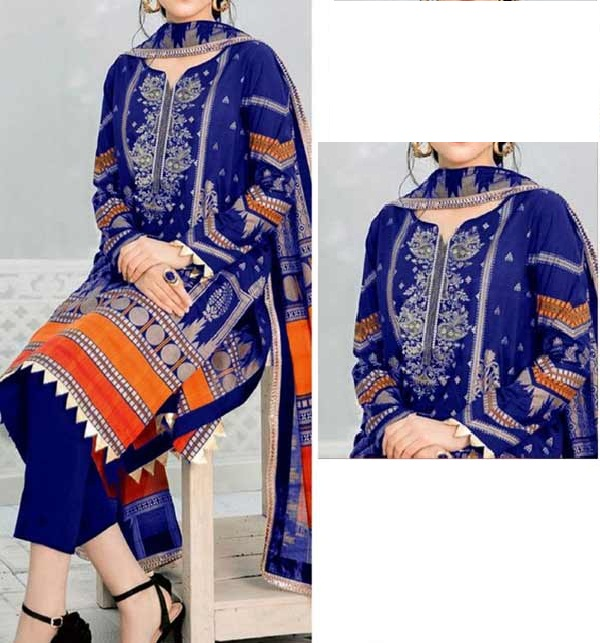 Marina Embroidery Dress With Wool Shawl Dupatta UnStitched (KD-139)
