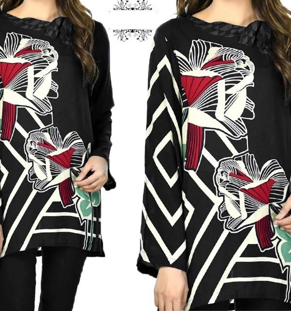 Black Embroidered Marina Dress with Marina Shawl Dupatta (UNCTITCHED) (KD-150)