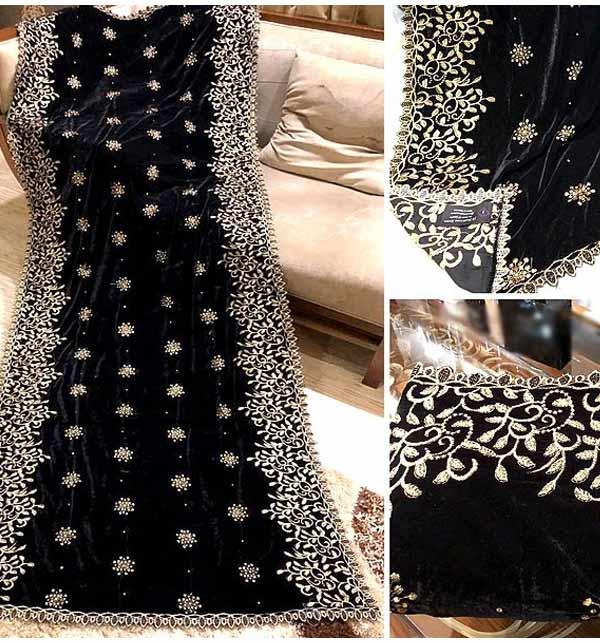 Velvet Heavy Embroidered Cutwork Shawl (Shawl 30)