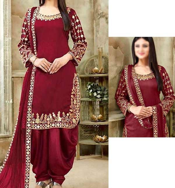 Chiffon Embroidery Mirron Work Suit Maroon Color (Unsicthed) (CHI-404)