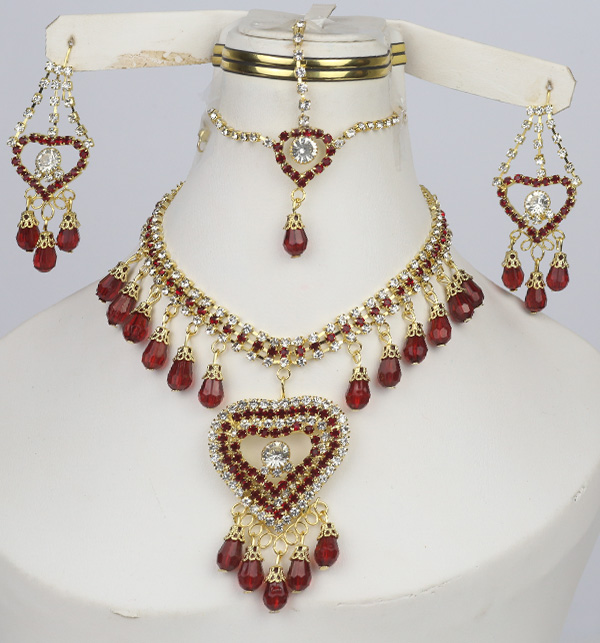 Maroon Heart Jewelry Sets Earing and Matha Patti  (PS-374)