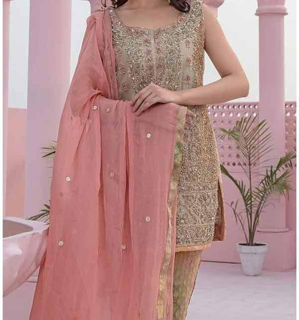Masoori Dress with Jamawar Trouser & Chiffon Embroidered Dupatta (CHI-248) (Unstitched)