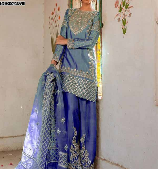 Masoori Embroidered Suit With Net Embroidery Dupatta  (CHI-444)