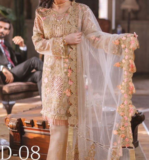Masoori Heavy Net Embroidered Suit (CHI-226) (Unstitched)