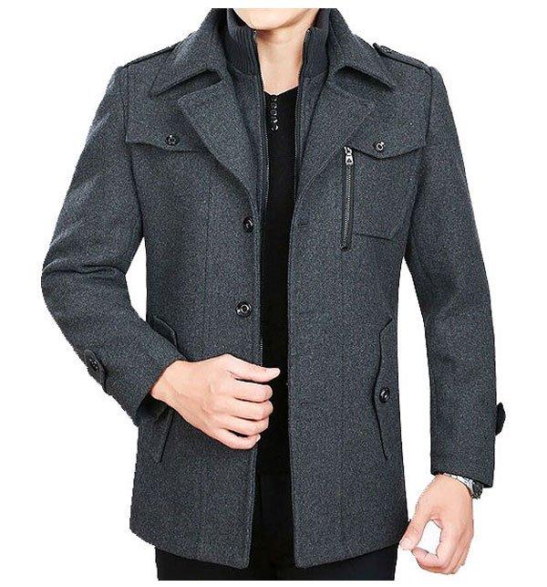 Mens Charcoal Fleece Winter Coat