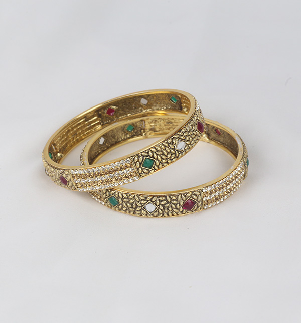 Multi Color Stone Work Bangle Set for Women  (BH-60)