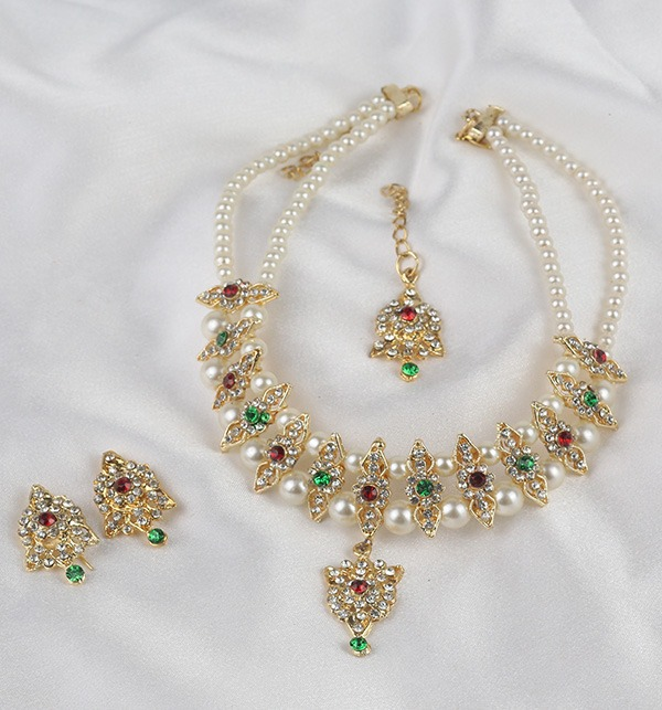 Multi Color Golden And Pearl Jewelry Sets 2021 (PS-334)