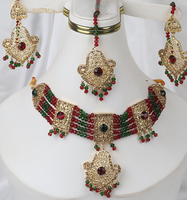 Multi Color Golden Stylish Artificial Jewellery Set (PS-265)