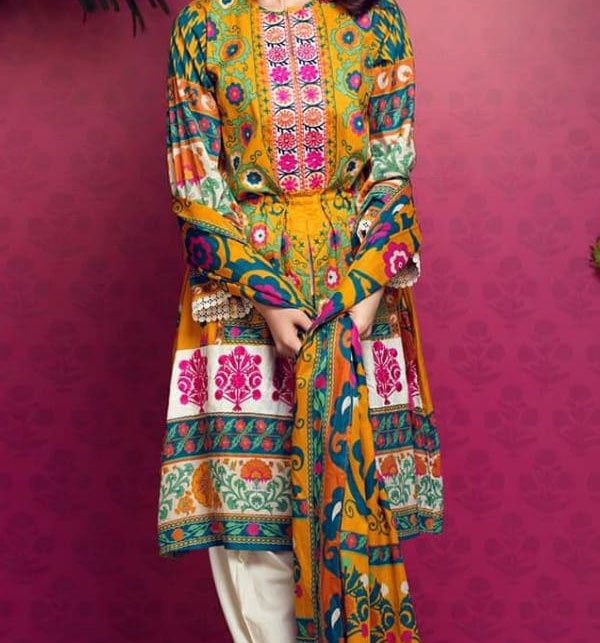 Multi color Lawn Embroidery Suit With Chiffon Printed Duppata (DRL-464) (Unstitched)