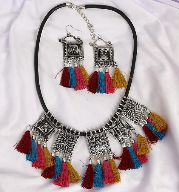 Multi Color TASSEL Necklace Set (PS-192)