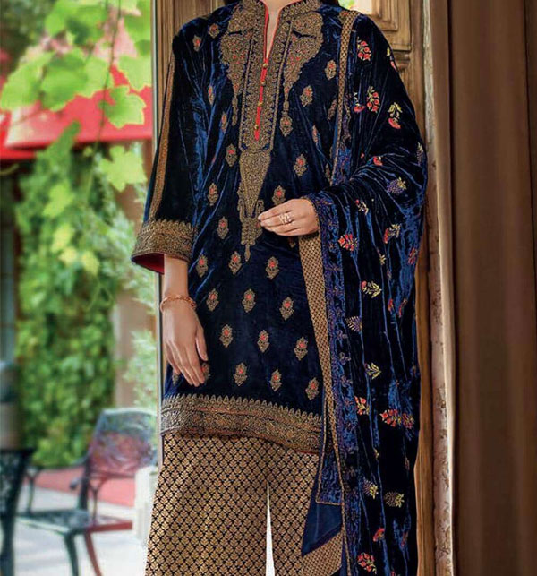 Navy Blue Khadder Embroidered Suit with Wool Dupatta (KD-88) (UnStitched)
