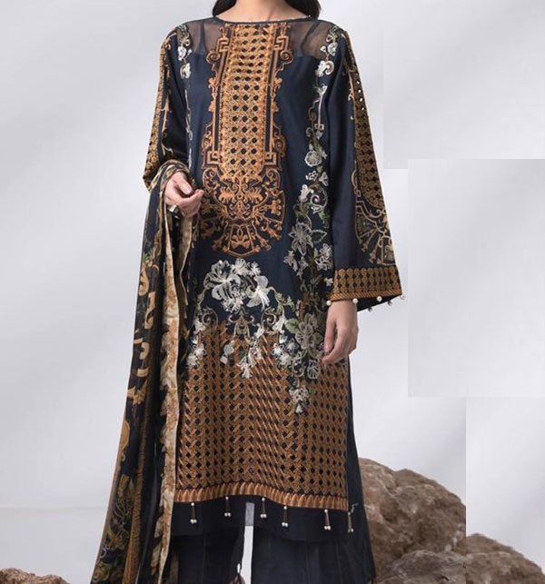 Hit 2020 Heavy Embroidered Lawn Dress LAWN Dupatta UnStitched (DRL-575)
