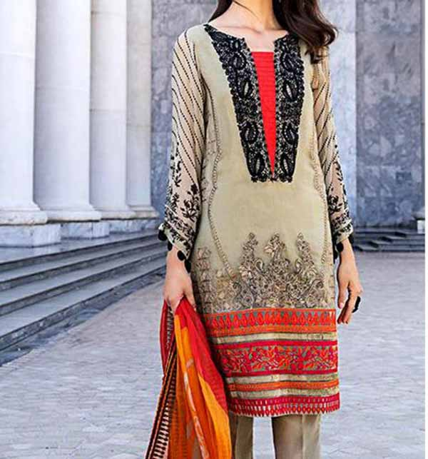 Neck Embroidered Lawn Dress 2021 with Chiffon Dupatta (DRL-835)