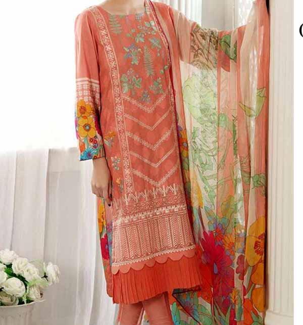Lawn Embroidered Dress Chiffon Dupatta UnStitched (DRL-831)