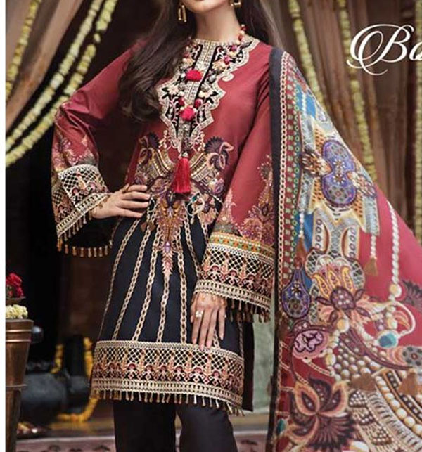 f2ce2ced1db1cb Neck Embroidered Lawn Suit With Chiffon Dupatta (DRL-377) (Unstitched)