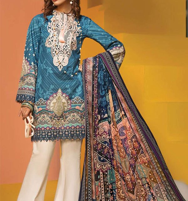 Embroidered Lawn Suit With Chiffon Dupatta (DRL-384) (Unstitched)