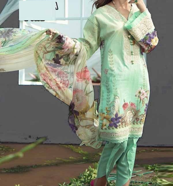 Neck  Embroidered Lawn Suit with Chiffon Dupatta (DRL-908)
