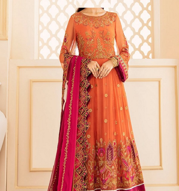 Neck Embroidered Lawn Suit With Printed Trouser  (DRL-810)