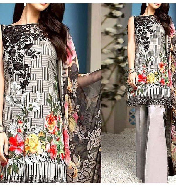 Embroidered Linen Dress with Chiffon Dupatta (Unstitched) (LN-72)