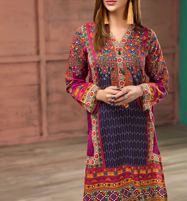 Linen  Embroidered Suit with Wool Dupatta (LN-94) (Unstitched)