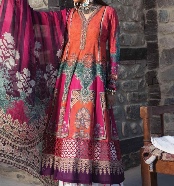 Linen Embroidered Suit With Wool Shawl (Unstitched) (LN-57)