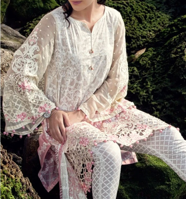 Lawn Embroidered Suit With Chiffon Dupatta & Printed Trouser (DRL-373) (Unstitched)