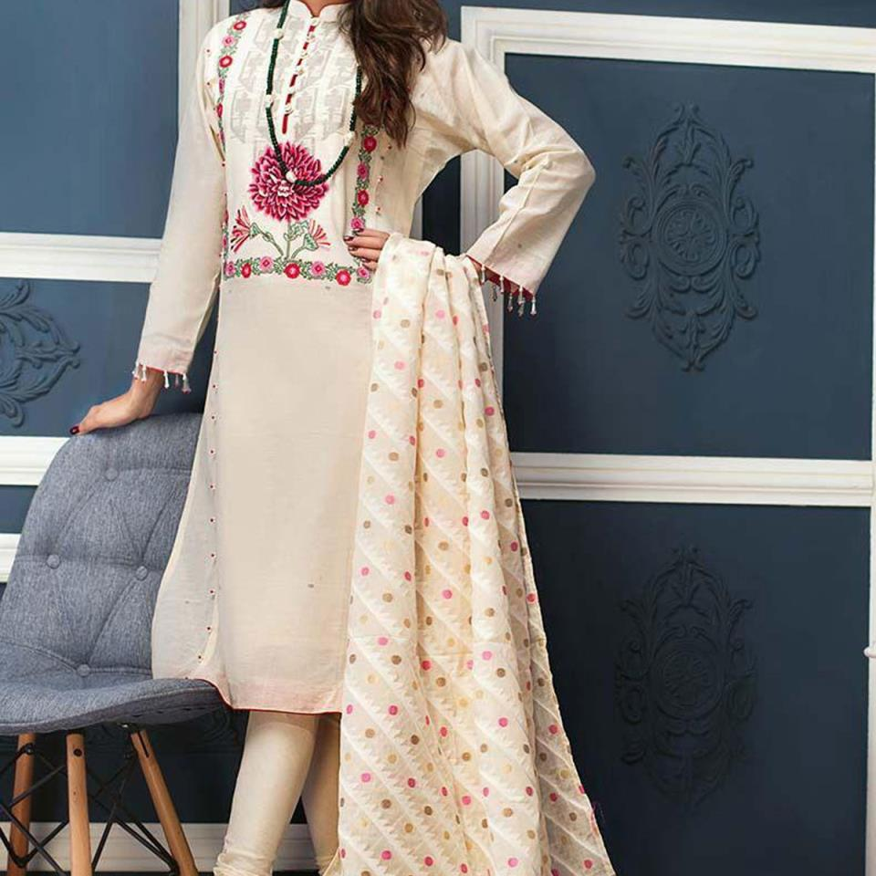 Lawn Embroidered Suit 2020 With Chiffon Dupatta - (DRL-435) (UnStitched)