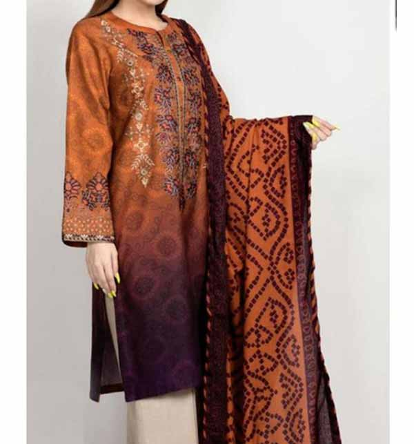 Neck Lawn Embroidered Suit With Chiffon Dupatta UnStitched  (DRL-770)