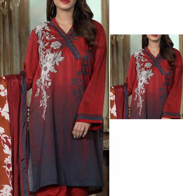 Beautiful Lawn Embroidered Dress with Chiffon Dupatta  (DRL-890
