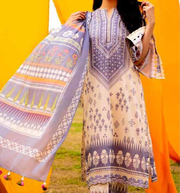 Neck Lawn Full Embroidered Dress with Chiffon Dupatta (DRL-923)