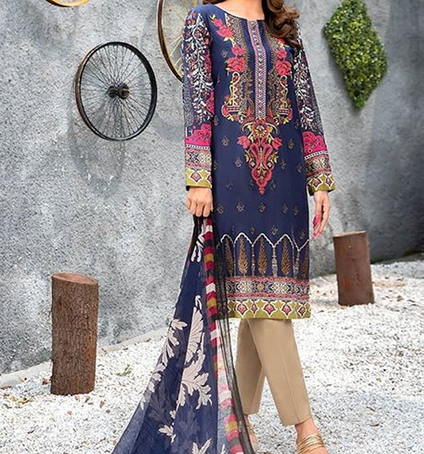 Twill-Linen Embroidered Suit Wool Shawl Unstitched (LN-105)