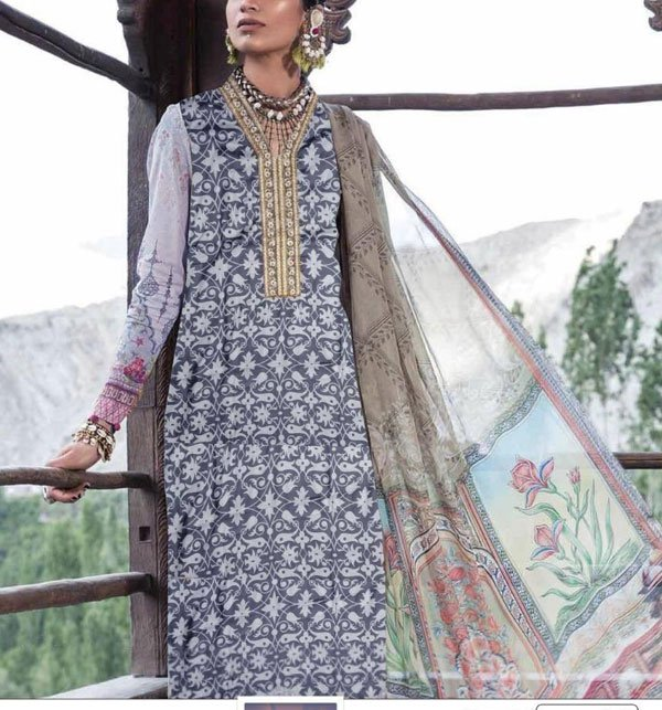 Linen Embroidered Suits With Chiffon Dupatta Unstitched (LN-80)