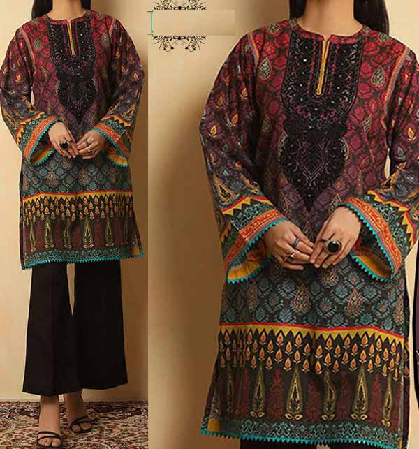 Lawn Sequence Embroidered 90/ 70 Suit Collection with Chiffon Dupatta Unsicthed (DRL-761)