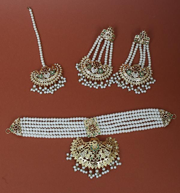 Hyderabadi Multicolor Necklaces Set With Earring & Matta Patti (PS-225)