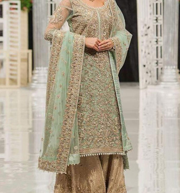 Net Embroidered 2020 2021 With Net Embroidered Dupatta - BRIDAL Collection Dress Unstitched (CHI-370)
