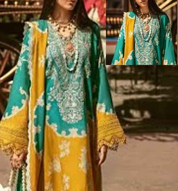 New 3PC Embroidered Unstitched Lawn Suit With Chiffon Duppata (DRL-660)