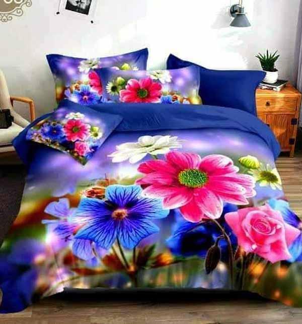 New 5D Digital HD Print Cotton Satin Red Flower Bedsheets Design (BCP-36)