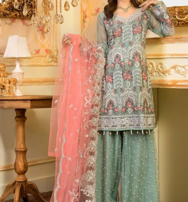 Heavy Embroidered Suit With Net Dupatta (CHI-285) (Unstitched)